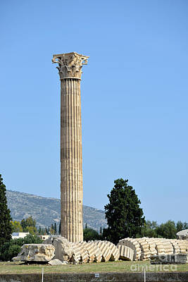 Zeus Photograph - Temple Of Olympian Zeus In Athens by George Atsametakis
