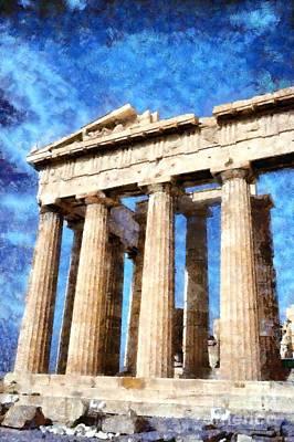 Pillar Painting - Temple Of Parthenon by George Atsametakis