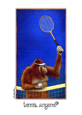 Orangutan Painting - Tennis Anyone by Will Bullas