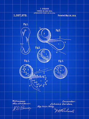 Tennis Ball Patent 1914 - Blue Print by Stephen Younts