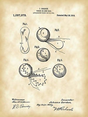 Tennis Ball Patent 1914 - Vintage Print by Stephen Younts