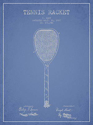 Tennis Racket Patent Drawing From 1887 Print by Aged Pixel