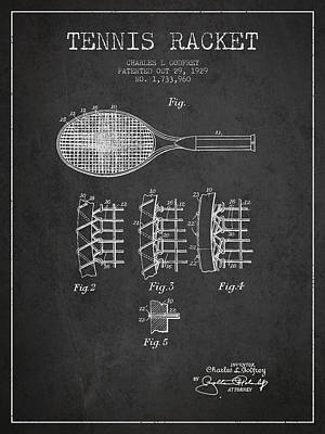 Tennis Digital Art - Tennnis Racket Patent Drawing From 1929 by Aged Pixel