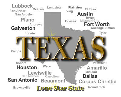 Texas State Pride Map Silhouette  Print by Keith Webber Jr