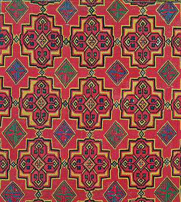 Repetition Painting - Textile With Geometric Pattern by Moroccan School