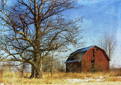 Textured Red Barn Print by Kathleen Scanlan
