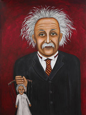 Einstein Painting - The 2 Einstein's by Leah Saulnier The Painting Maniac