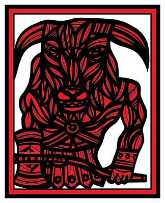 Minotaur Drawing - Grumet Minotaur Red White Black by Eddie Alfaro