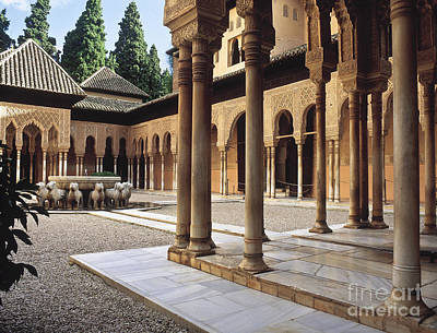 The Alhambra The Court Of The Lions Print by Guido Montanes Castillo