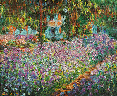 Garden Scene Drawing - The Artists Garden At Giverny by Celestial Images