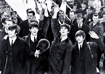 Ringo Photograph - The Beatles Land In America - 1964 by Mountain Dreams