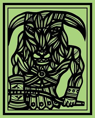 Minotaur Drawing - Barrie Minotaur Green Black by Eddie Alfaro