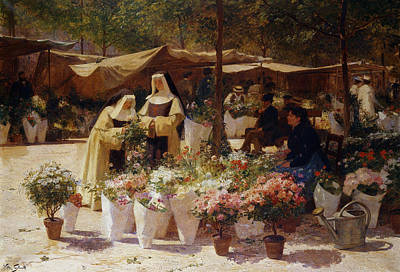 Nuns Painting - The Flower Market by Victor Gabriel Gilbert