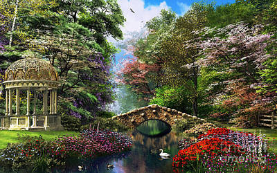 Swans.. Digital Art - The Garden Of Peace by Dominic Davison