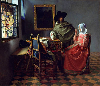 The Glass Of Wine Print by Johannes Vermeer