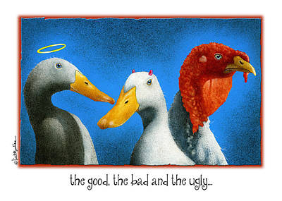 Ducks Painting - The Good The Bad And The Ugly by Will Bullas