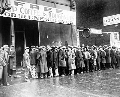 Bread Line Photograph - The Great Depression. Unemployed Men by Everett