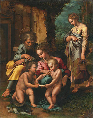 Giulio Romano Painting - The Holy Family by Giulio Romano