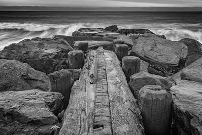 The Jetty In Black And White Print by Rick Berk