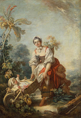 Jean-honore Fragonard Painting - The Joys Of Motherhood by Jean-Honore Fragonard