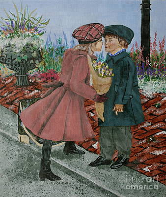 Boys Painting - The Kiss by Linda Simon