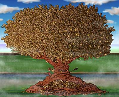 Changing Leaves Drawing - The Lending Tree by Paul Calabrese
