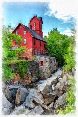 Old Mill Scenes Photograph - The Old Red Mill Jericho Vermont by Edward Fielding