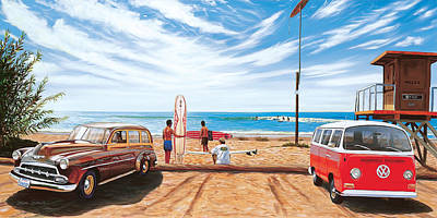 Bus Painting - The Point San Onofre by Steve Simon