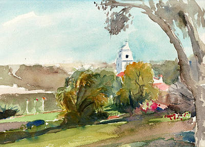 Early California Landscape Painting - The Presidio San Diego by Alice Picado