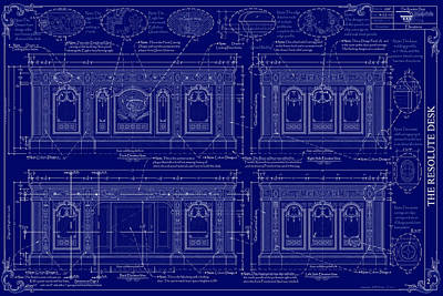 The Resolute Desk Blueprints - Dark Blue Print by Kenneth Perez