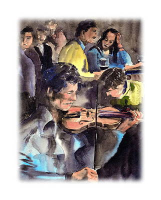 Tour Ireland Painting - Clare   The Session by Val Byrne