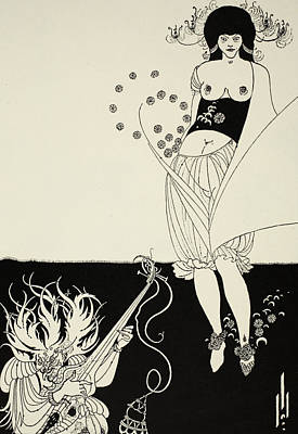 Black And White Erotic Art Drawing - The Stomach Dance by Aubrey Beardsley