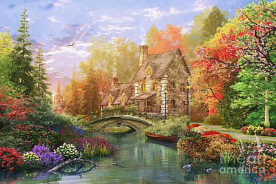 The Water Lake Cottage Print by Dominic Davison