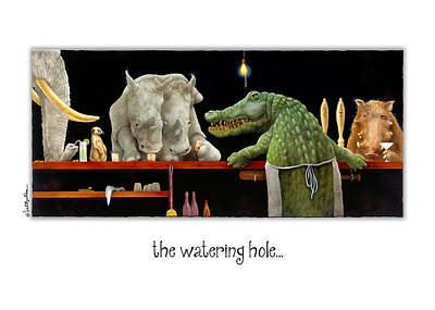 Crocodile Painting - The Watering Hole... by Will Bullas
