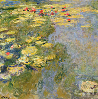 Leaves Painting - The Waterlily Pond by Claude Monet