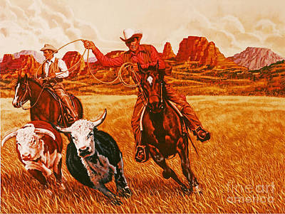 Steer Painting - The Wranglers by Dick Bobnick