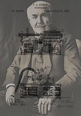 Thomas Edison's Phonograph Print by Dan Sproul