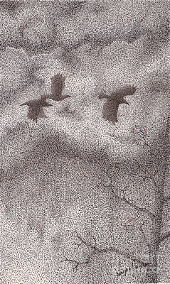 Stormy Weather Drawing - Three Crows by Wayne Hardee