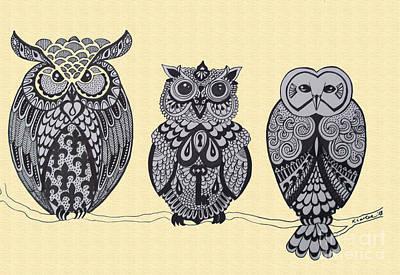 Three Owls On A Branch Print by Karen Larter