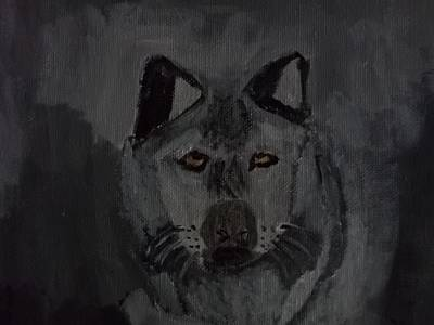 Timber Wolf Acrylic Painting Original by William Sahir House