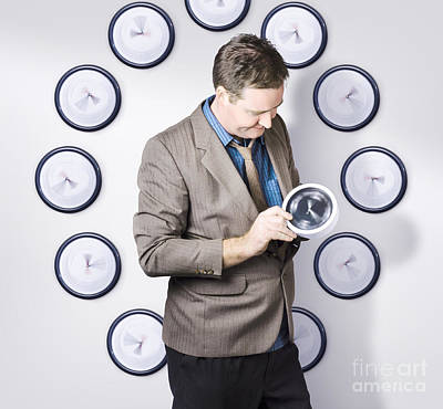 Time Management Business Man Looking At Clock Print by Jorgo Photography - Wall Art Gallery