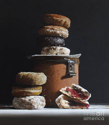 Donuts Painting - Tin With Donuts by Larry Preston
