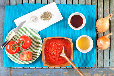 Vinegar Photograph - Tomatoes And Onions by Tom Gowanlock