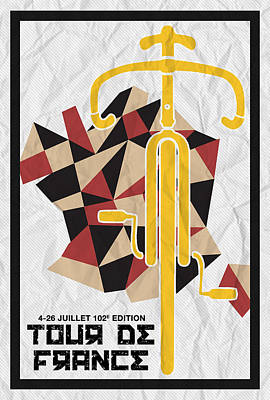 Sprinting Digital Art - Tour De France 2015 Minimalist Poster by Celestial Images