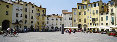 Lucca Photograph - Tourists At A Town Square, Piazza by Panoramic Images