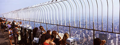 Empire State Photograph - Tourists At An Observation Point by Panoramic Images