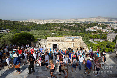 Greek Photograph - Tourists Entering Acropolis Of Athens In Greece by George Atsametakis