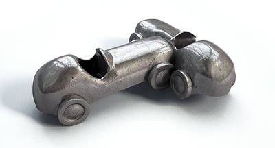 Iron Digital Art - Toy Car Collision by Allan Swart