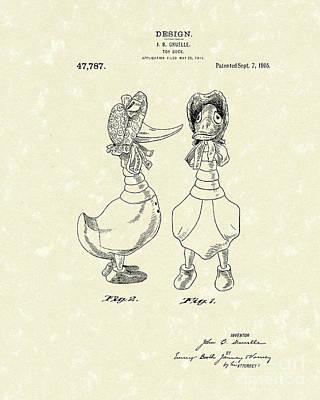 Toy Duck 1915 Patent Art Print by Prior Art Design