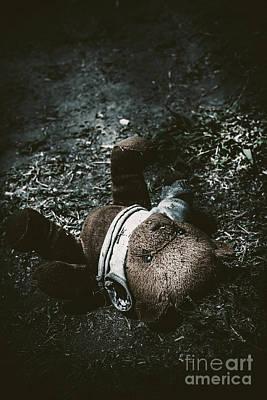 Teddybear Photograph - Toy Teddy Bear Lying Abandoned In A Dark Forest by Jorgo Photography - Wall Art Gallery